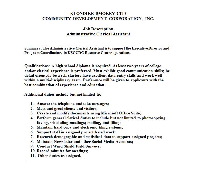KLONDIKE SMOKEY CITY COMMUNITY DEVELOPMENT CORPORATION, INC.   Administrative Clerical Assistant