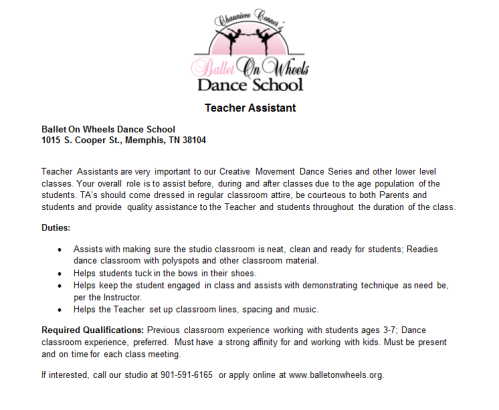 part time dance instructor position teacher assistant w ballet on