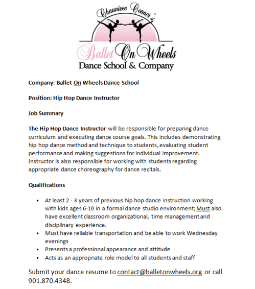 ballet on wheels dance school company dance instructor position