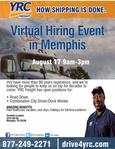 YRC Freight Virtual Hiring Event 8/17/18 | Job & Career News