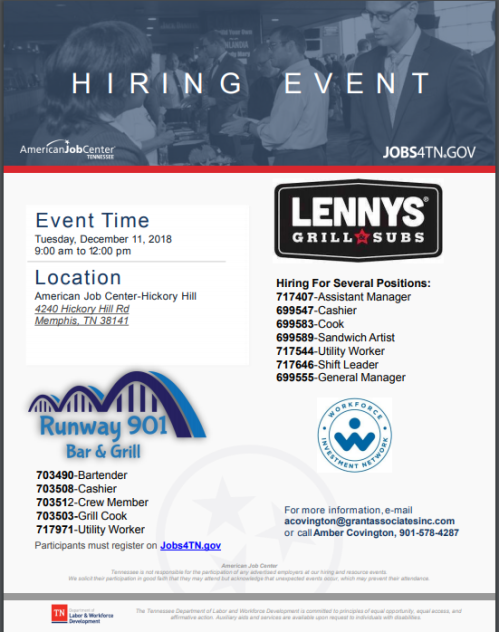 Lennys And Runway 901 Bar Grill Hiring Event Tuesday December 11 2018 9AM 12PM Hickory Hill AJC
