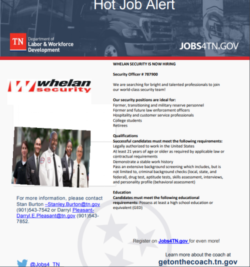 Immediate Need: Security Officers – Whelan Security in Memphis