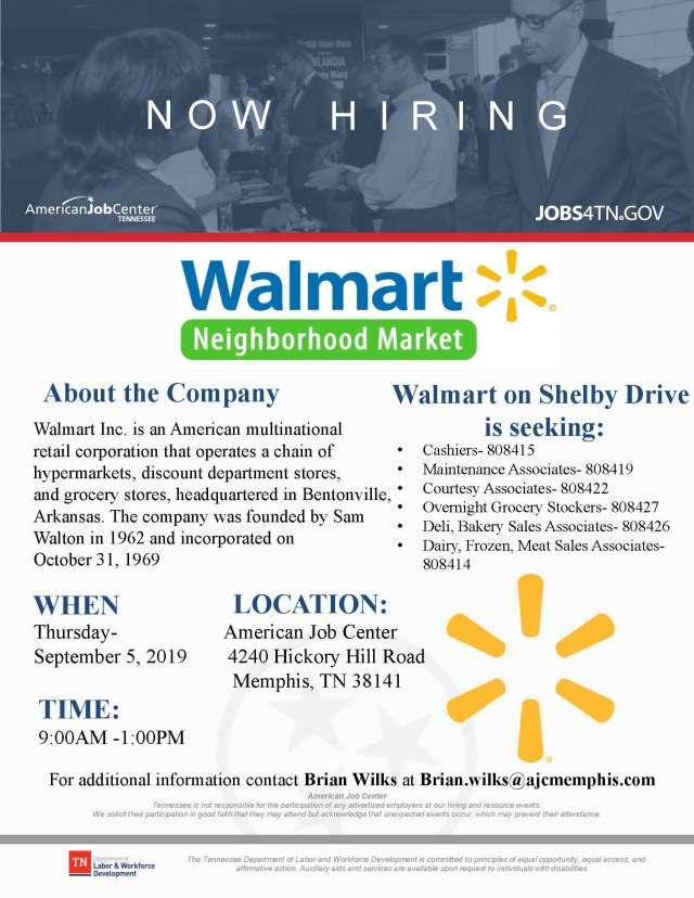 Walmart Neighborhood Market Hiring Event 9/5/19 @ AJC Hickory Hill – Job &  Career News